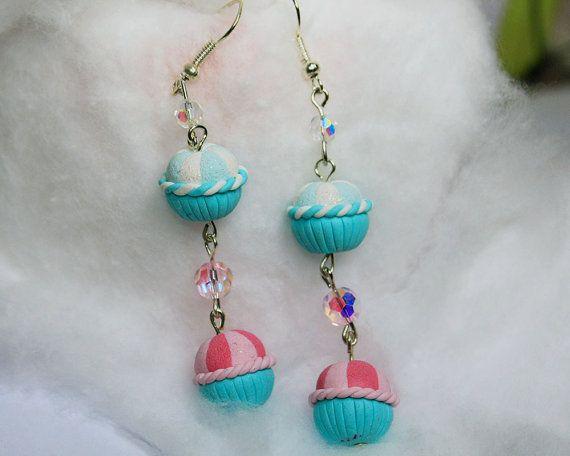 Double glitter joy cupcake earrings by TinkyPinky on Etsy