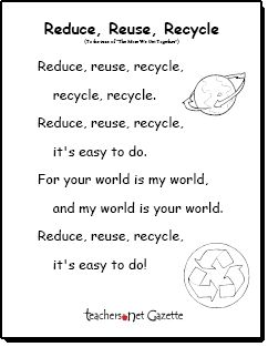"""""""Reduce, Reuse, Recycle"""" song to the tune of """"The More We Get Together"""""""