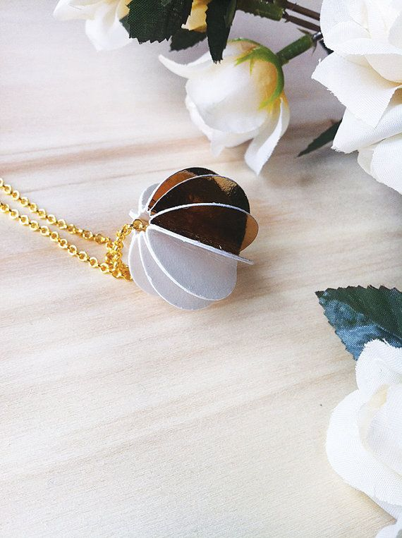 Necklace with a gold and white paper bead  by AlfieriJewelDesign