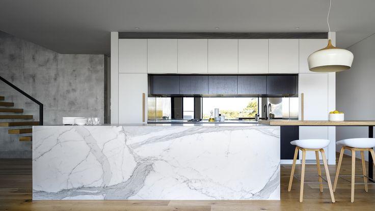Kitchen Color Scheme Option + Island Design Alternative with Table Extension - BURRAN AVE - Corben Architects