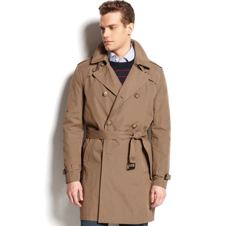 Tommy Hilfiger Brown Double Breasted Belted Trench Coat | Fashideas.com