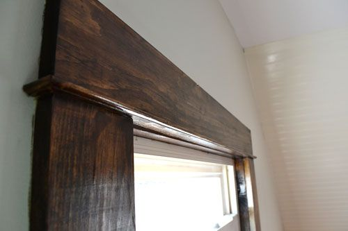 Dark Walnut Stained Trim - pine wood trim with a walnut stain - like the way the trim is done!