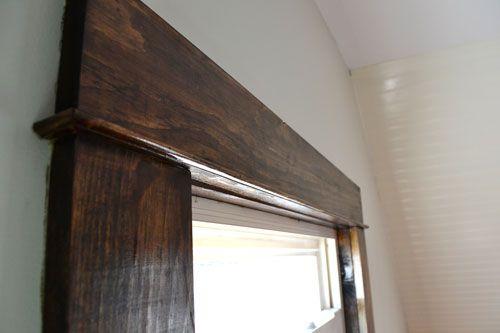 Dark Walnut Stained Trim - pine wood trim with a walnut stain - like the way the trim is done!