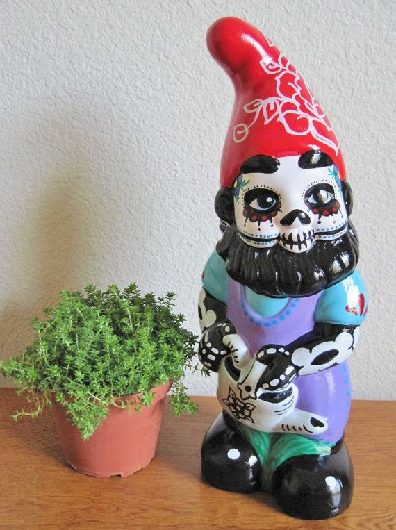 Day of the Dead gnome ($60 by illustratedink?! I could do one just as well for a whole lot cheaper)