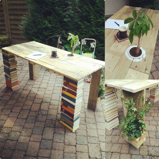 Diy desk of europaletts an books upcycling pallets for Schreibtisch 1 50 m
