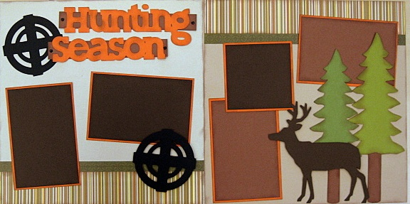 Is hunting a way of life in your family? Then this layout will surely give you inspiration for scrapbooking your seasonal photos!  Designed by Down Memory Lane's talented design staff.  Discover all our outdoor-themed kits!