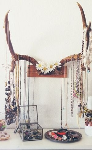 Bohemian jewelry stand made from antlers
