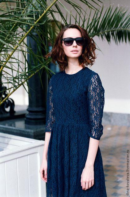Платья ручной работы. Синее кружевное платье. dina kovaleva. Ярмарка Мастеров. Кружевное платье, море, кружево хлопок