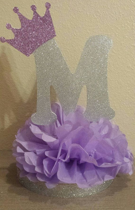 Purple Princess Silver or Gold Initial table centerpiece Decoration for birthday party or baby shower 1st birthday! Perfect for Sofia First birthday party