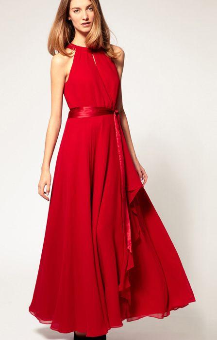 Red Halterneck Chiffon Maxi Party Dress
