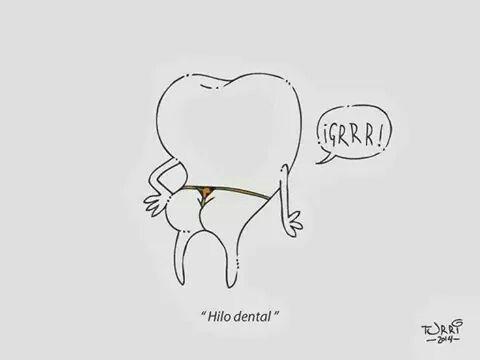 Literal diente con hilo dental
