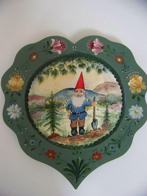 decorative painting on wood gnome with rosemaling by danishjane. , via Etsy.