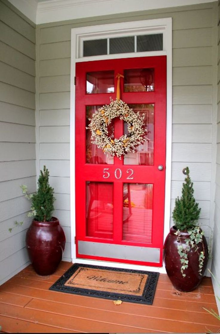 Vintage Red Storm Door With Clear Glass Screen Door Window Also Using Satin Door Slab