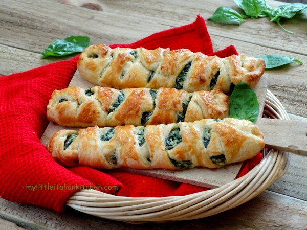 Easy ricotta and spinach puff pastry rolls