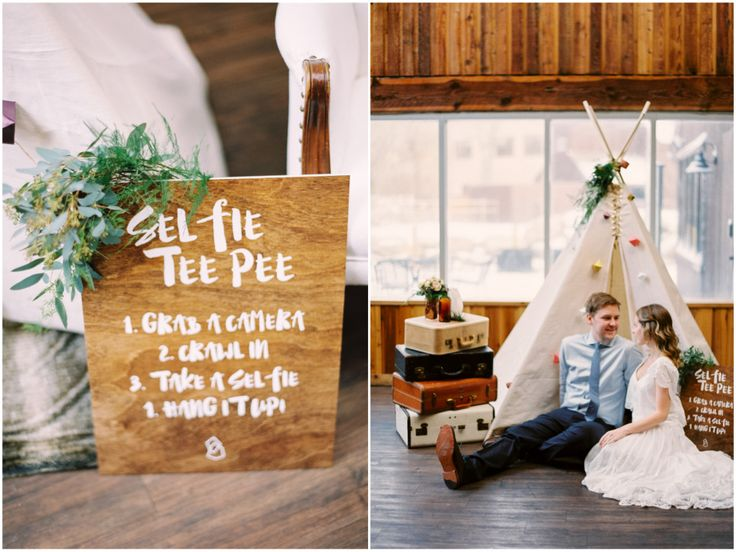 Not your ordinary wedding photo booth...hop on into the selfie teepee! Click to…