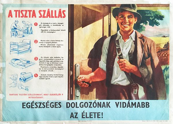 Healthy worker communist propaganda poster