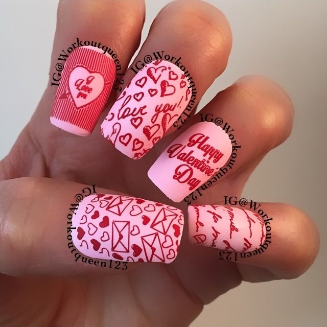 IG@workoutqueen123  Love letters polishes used #colorclub Feathered Hair Out To There #mundodeunas Red-9, stamping plates used @moyou_london Festive-19,-20, Princess-11, #MoyouLondon #MYLFEB #MYLLOVELETTERS