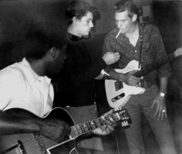 Otis Redding, Johnny Daye and Steve Cropper in the studio, 1967.