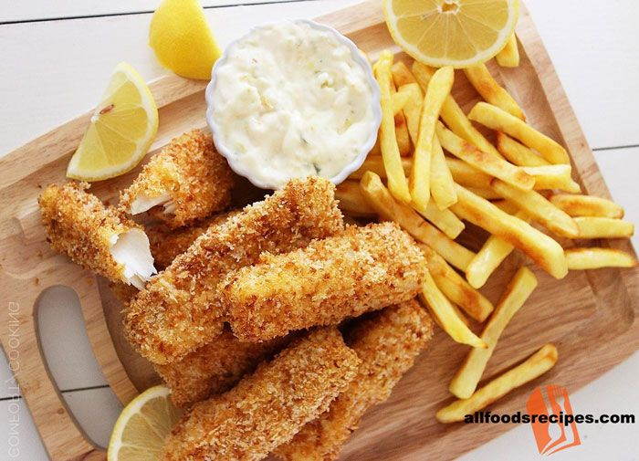 Oven Baked Fish Finger with Potato Chips - It's a crispy baked fish finger with less oil and less calorie which is perfect for diet freaks and kids.    RECIPE : http://www.allfoodsrecipes.com/recipe/oven-baked-fish-finger-potato-chips/