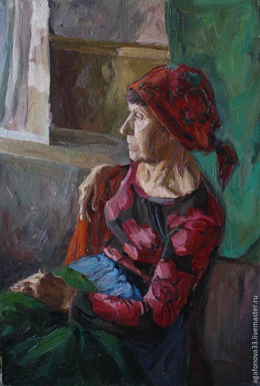 www.agafonova33.livemaster.ru Портрет женщины в красном - бордовый, красный, портреты на заказ, портреты по фотографиям, портрет на холсте
