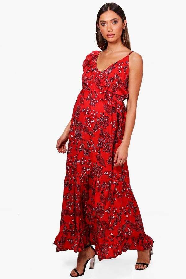 a596e90ca22f boohoo Maternity Chelsea Floral Ruffle Maxi Dress | Maternity | Maxi ...