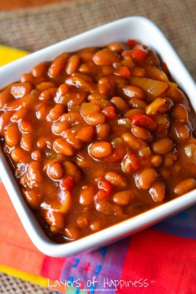 The BEST baked beans ever: Crockpot Vegetarian Baked Beans - caramelized, sweet, and savory baked beans... These arE truly the best baked beans ever!