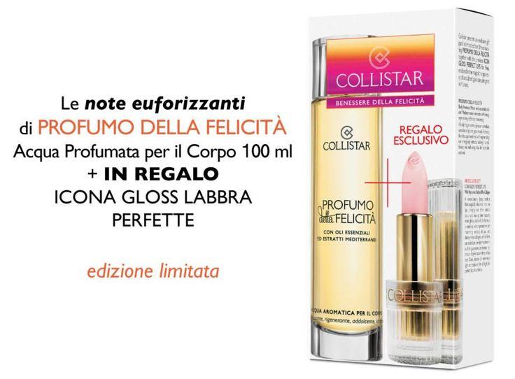 Profumo della Felicità + in regalo Icona Gloss Labbra Perfette#Collistar #beauty #look #italy #italia #love #amore #sanvalentino #regali #gift #present #sharethelove #profumo #perfume #felicità #happyness