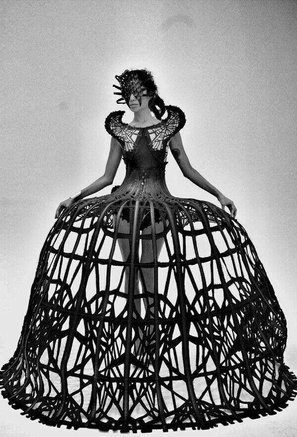Sculptural Fashion - dramatic cage dress; dark fashion; wearable art // Malgorzata Dudek