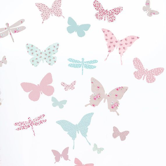 Butterfly Wall Stickers (fabric wall decals not vinyl) on Etsy, $45.41 AUD