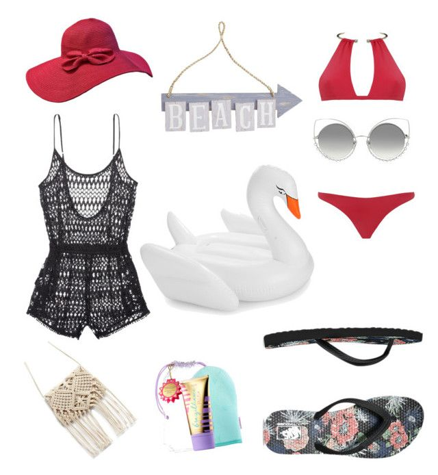 """""""Beach Edition"""" by nuriranaa on Polyvore featuring Victoria's Secret, MOEVA, Vans, Marc Jacobs, Pier 1 Imports, Funboy, tarte, stylishcurves and plussizeswimsuit"""