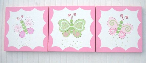 Baby Girls Pink Lindsey Butterfly Kids Nursery Canvas by kaiulani, $100.00