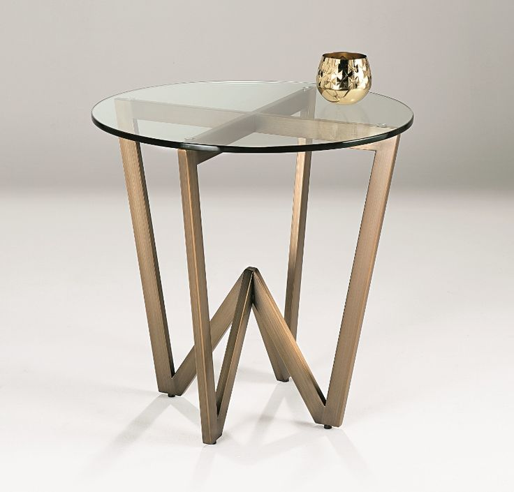 Angle Side Table - stainless steel framework in brushed bronze finish topped with 12mm clear tempered glass