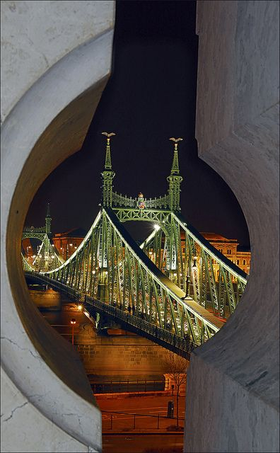 Liberty Bridge across the Danube River in Budapest, Hungary