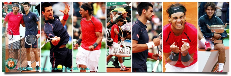 A collage of the French Open Mens Final, won by Rafael Nadal in four sets over Novak Djokovic. Rafa's 7th French