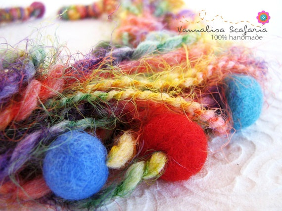This yarn necklace seems to be a nest for your neck... Yarn wool is so soft and sweet and all that coloured wet hand felted (by me) beads will always put you in high spirits! Creating this necklace was a pure pleasure and I hope you'll feel it when you wear it :-)