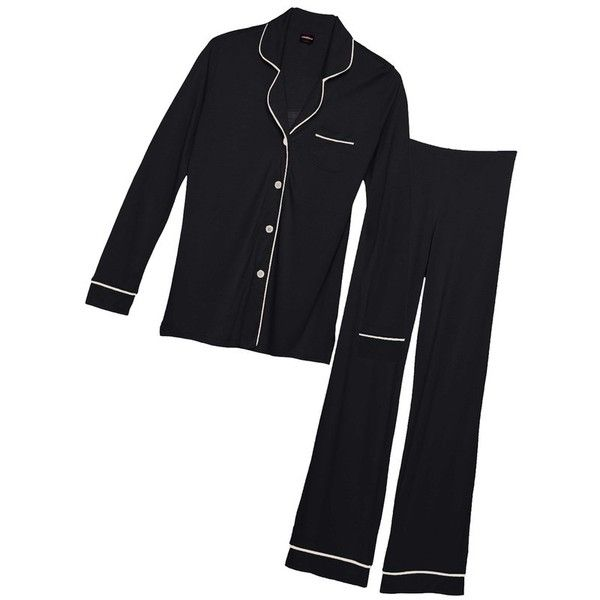 Cosabella Bella Plus Longsleeve  Pant Pajama Set ($144) ❤ liked on Polyvore featuring plus size women's fashion, plus size clothing, plus size intimates, plus size sleepwear, plus size pajamas, black, intimates, sleepwear, button up pjs and plus size pajama sets