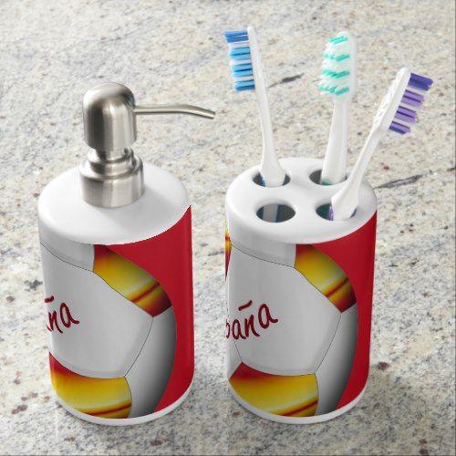 Ball of SPAIN SOCCER color of Spanish flag Soap Dispenser & Toothbrush Holder