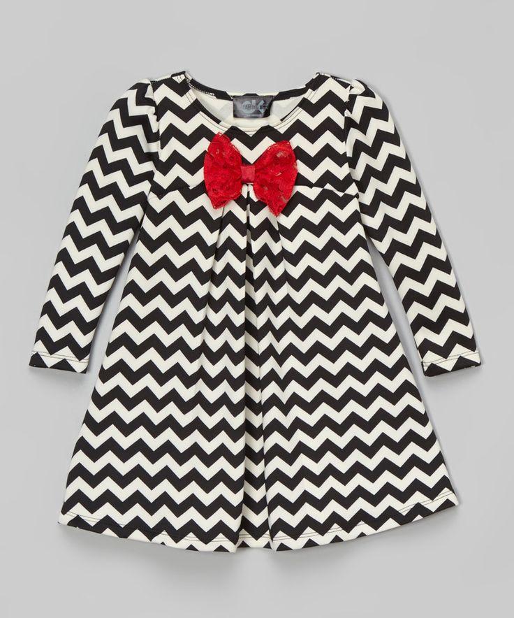 Vestido manga larga zig zag blanco+negro niña