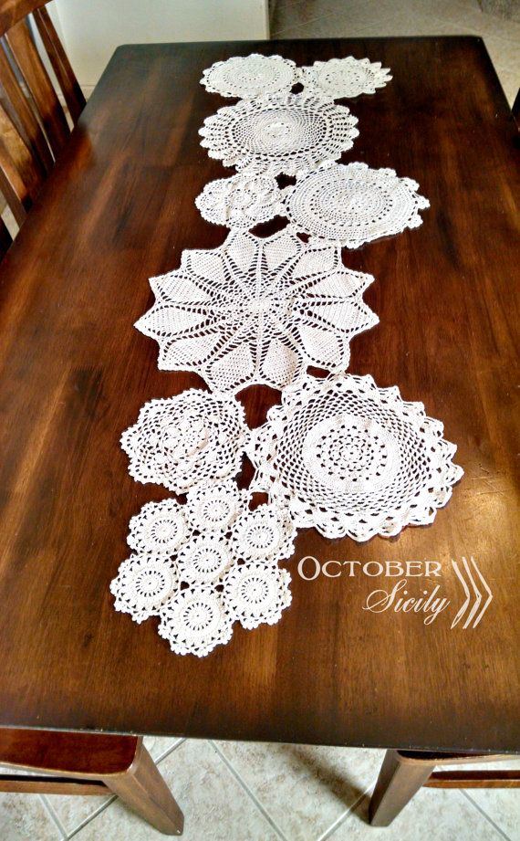 Beautiful Handmade Rustic, Antique crochet doily table runner by DashwoodShop