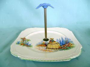 British anchor crinoline lady pattern handled cakes plate.