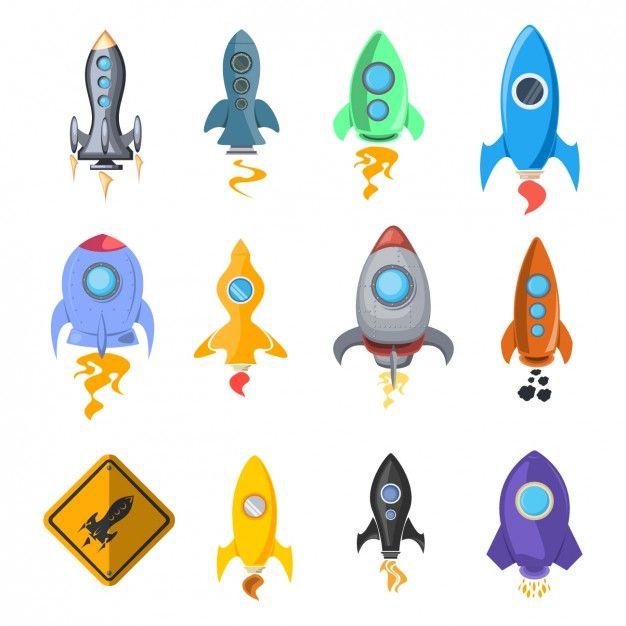 Colección de iconos de cohetes espaciales Vector Gratis