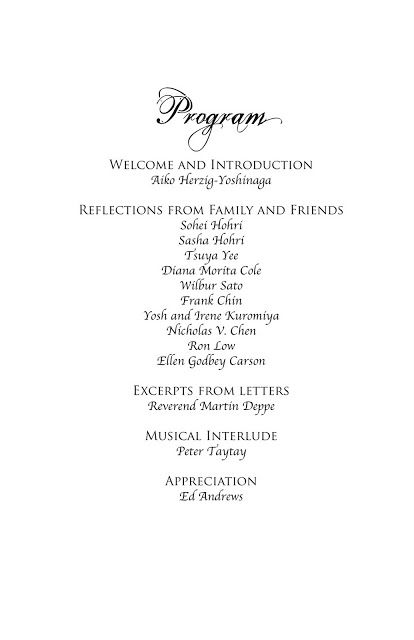 Remembering William Hohri: Memorial Service Program, November 21, 2010