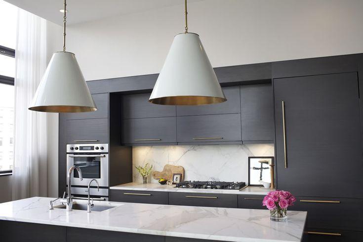 Brooklyn Heights Kitchen | http://rawlinscalderone.comLights Fixtures, Black Cabinets, Brooklyn Heights, Grey Kitchens, Brooklyn Apartments, Pendants Lights, Modern Kitchens, Hanging Lamps, Apartments Kitchens