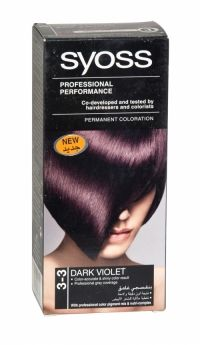 Syoss Professional Permanent Hair Colour 3-3 Dark Violet Co-developed and tested by hairdressers and colorists. Professional grey coverage. Syoss, the permamnent coloration in professional quality for home usage - with color pigment mix and nutri complex. Contains caring color cream, application bottle with developer milk, sachet with color-seal conditioner, instruction leaflet and gloves.