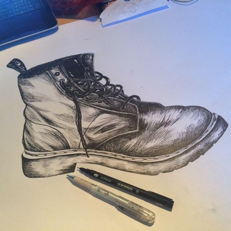 Pen drawing #docmartens #art #scribbles #drawing #pen #doodles  #shoes #myart