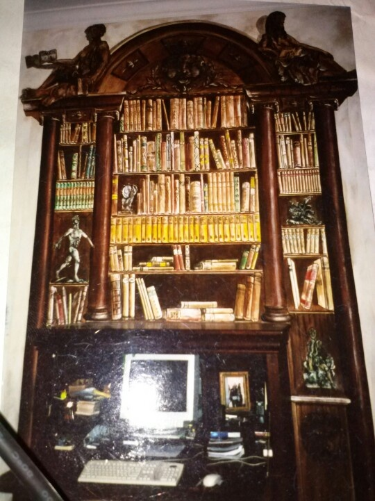 Bibliotheca in trompe l'oeil.designed and painted by Donzine in 2001.