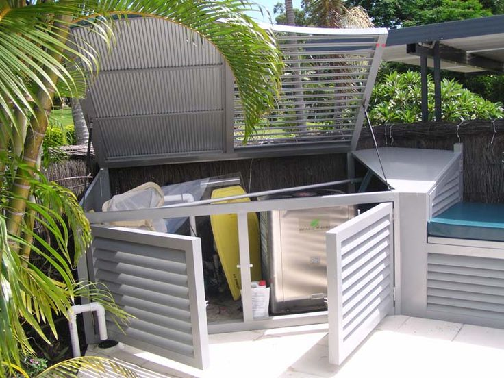 Pool pump house pool equipment enclosures sheds fences for Pool equipment design