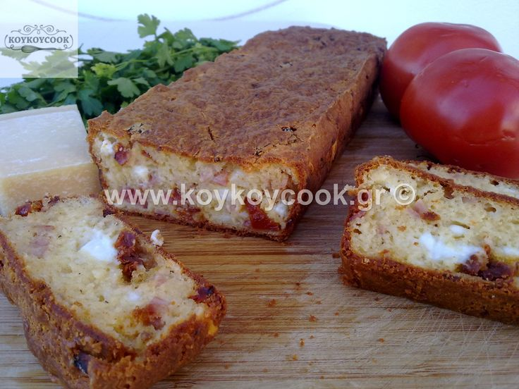 SALTY CAKE WITH FETA CHEESE AND DRIED TOMATOES