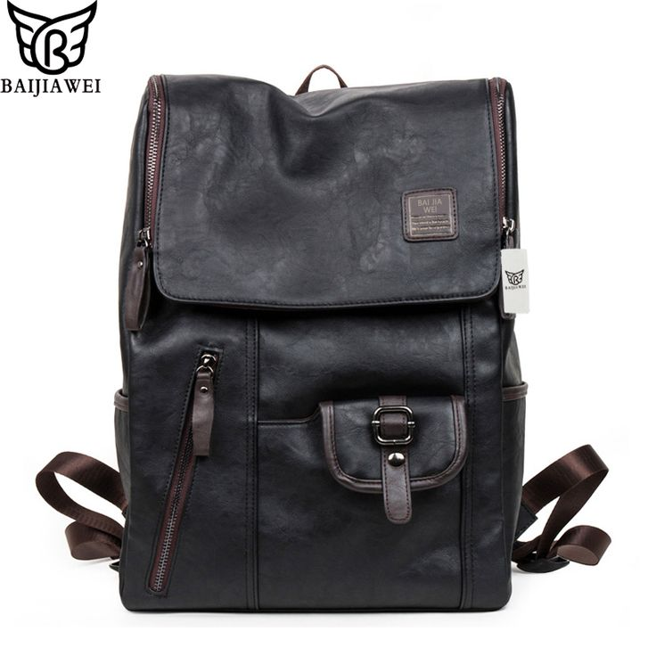 BAIJIAWEI Hot Sale Oil Wax Leather Backpacks Western Style Fashion Bag For Men Laptop Bags Travel Mochila Zip Casual Daypacks