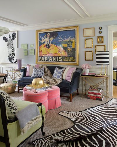 I really want a zebra rug and crazy colors in the new office!!! Liz Caan Interiors